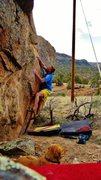 Rock Climbing Photo: Working the sloper rail on Common Deer.