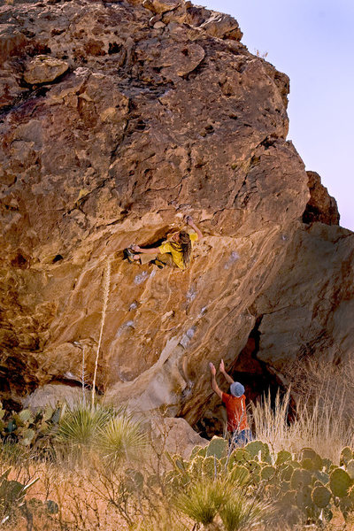 No chit-chat, no bullshit. Louis Koppel gives a proper spot in Hueco Tanks, Texas.<br> by Ryan Wedemeyer<br>