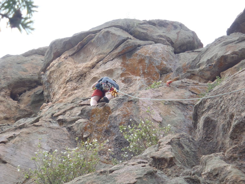 Rock Climbing Photo: Top to 5.5 near the right side of the wall. Protec...