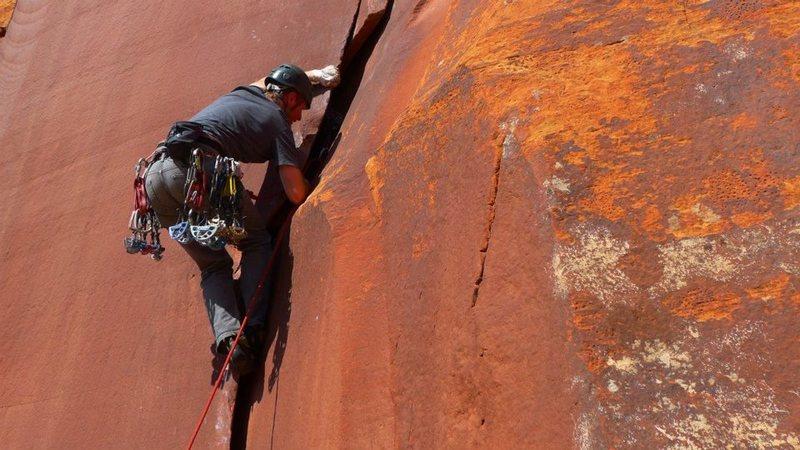 Rock Climbing Photo: Wide crack opening moves on Walkin' Talkin' Bob.