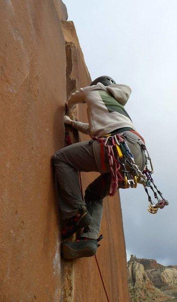 Rock Climbing Photo: Climber leading the short 9+ left of Supercrack.