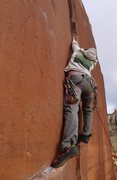 Rock Climbing Photo: Climber finishing the small hands crux on the shor...
