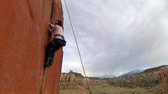 Rock Climbing Photo: Climber on the short 9+ left of Supercrack.