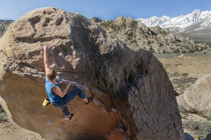 Rock Climbing Photo: Sean making the heroic throws on Hero Roof