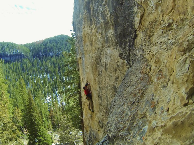 Twisted Shocker, 5.12a<br> Right side of The Snext Wall.<br> Sunshine Wall, Spearfish Canyon.