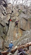Rock Climbing Photo: Right leaning crack to the left of the climber. Th...