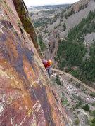Rock Climbing Photo: Wade turning the corner on P3.