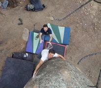 Rock Climbing Photo: Josh squeezing the trunk.