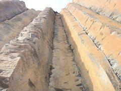 Rock Climbing Photo: Stemming all the way
