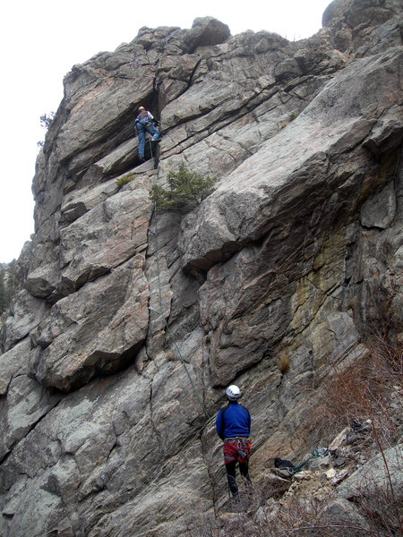 Doug belays Dave up perhaps the easiest line at the crag.