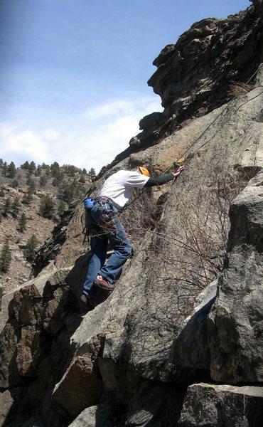 Rock Climbing Photo: Dave starts up the crack.