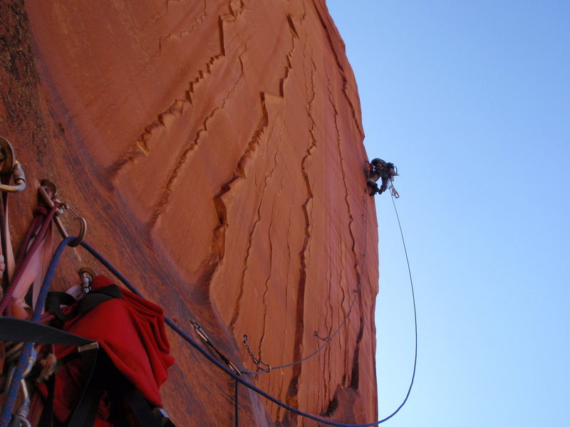 Joe Stern heading out the bolt ladder pitch, 2009?