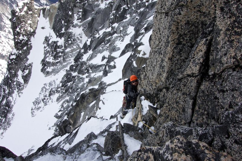 Easier mixed terrain on the North Face before reaching a higher small notch on the West Ridge