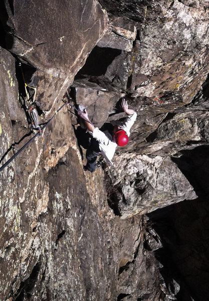 Rock Climbing Photo: James cruising up pitch 2. Fun climbing with good ...