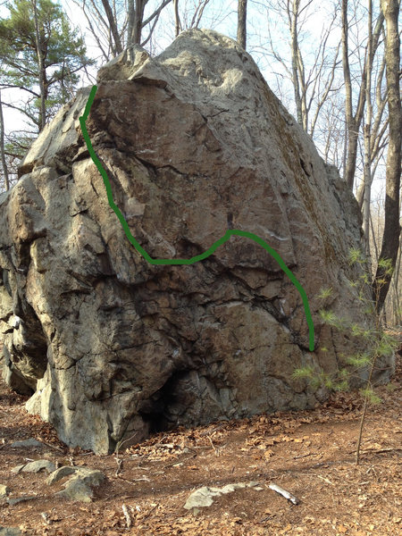 Problem on the Southeast side. Low undercling up to a ledge traverse with bad feet then up the arete to top out. I'm hesitant to post it as a route because I don't know the name or FA.