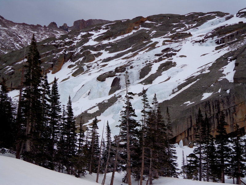 Rock Climbing Photo: 4-12-14, lots of snow on the route and at the base...