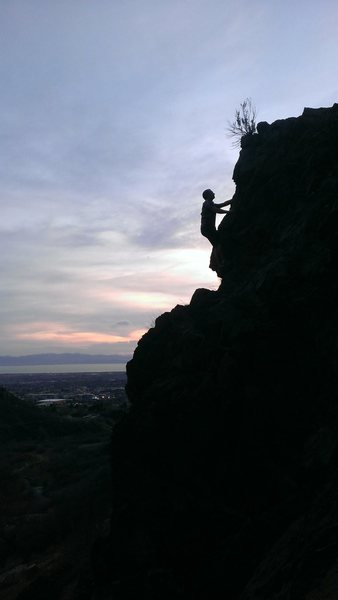 Climbing in Rock Canyon at sunset