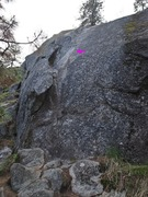 Rock Climbing Photo: Paydirt follows the flake and finger crack at left
