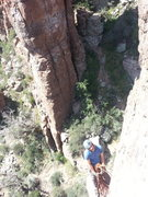 Rock Climbing Photo: Russell belaying from the chains of Drop'em South.