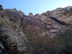 Rock Climbing Photo: pitch 2 - wander up the pocketed varnish face. Eas...