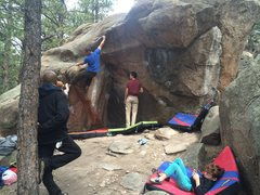 Rock Climbing Photo: A good shot of the whole problem and a demonstrati...