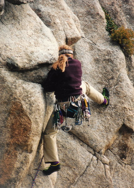 Rock Climbing Photo: The powerful beginning lieback moves of B and W, J...