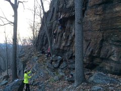 Rock Climbing Photo: Climbers top roping on the Good Book Wall left. Th...