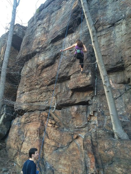 Rock Climbing Photo: G getting lowered of. The climb goes up the corner...