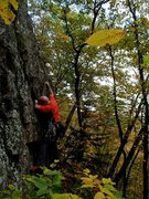 Rock Climbing Photo: Grammy making the moves up to the business...30' o...