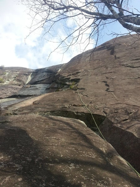 Rock Climbing Photo: Nick nearing the optional belay. Route continues u...