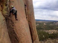 Rock Climbing Photo: The second pitch. Climbing the crack after travers...