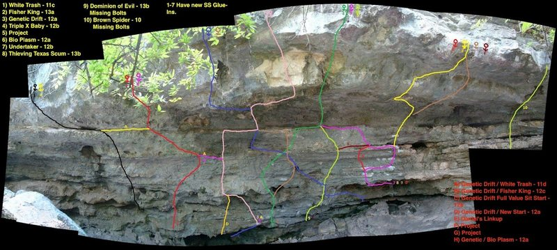 Cub Cave topo, route #5 is called Surfing in San Antonio 5.12d