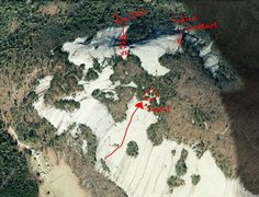 Rock Climbing Photo: North Face general layout and access.  The arrow m...