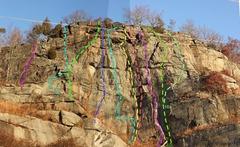 Rock Climbing Photo: Tower Wall Topo  1. Papa Bear, 5.6 2. Risky Bear, ...