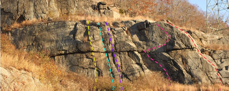 The Stockade Wall with Topo overlay. Tower Wall is up and to the left of this photo.<br> <br> 1. Crankenstein, 5.11-<br> 2. Dave's A-Peelin', 5.9<br> 3. Once Was Choss But Now Was Found, 5.8<br> 4. Zetastein, 5.10<br> 5. Stockade Scramble, 5.3