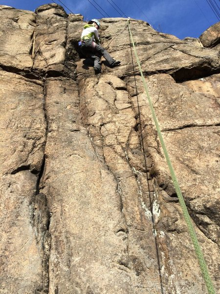 Rock Climbing Photo: Climber is on Once was choss, the crack to the lef...