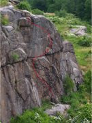 Rock Climbing Photo: Route Line from Tower Wall trail
