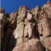 Rock Climbing Photo: Green outlines the variation, much better than the...