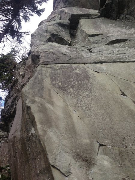 Anguish of Captain Bligh, 5.11b. Starts left of Harpoon.
