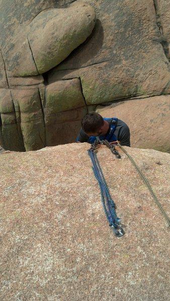 Rock Climbing Photo: Photo of the rap anchors. Should have gotten close...