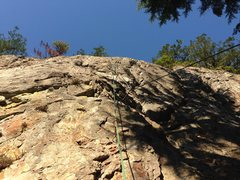 Rock Climbing Photo: Fixed ropes on Jane Doe during the cleaning phase.