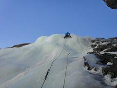 Rock Climbing Photo: Laurel on the short bonus P4. January 2014.