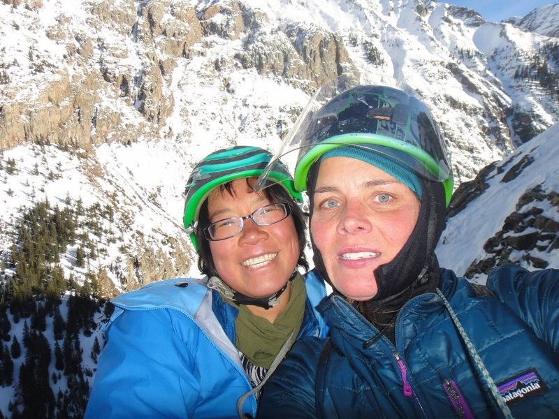 Rock Climbing Photo: Laurel and myself on the top of P4. January 2014.