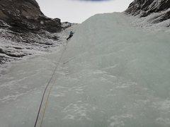 Rock Climbing Photo: Myself on the crux P2 - January 2014.
