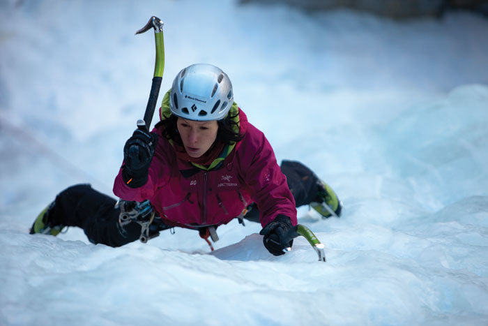 Ice climbing without eye protection