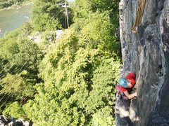 "Rock Climbing Photo: Climber leading ""Cold Steel Corner""."