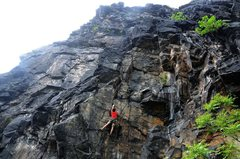 "Rock Climbing Photo: Climber on ""Outrage"" Taken by Indy"