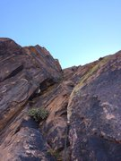Rock Climbing Photo: Looking up at the money pitch(4).  One of the best...