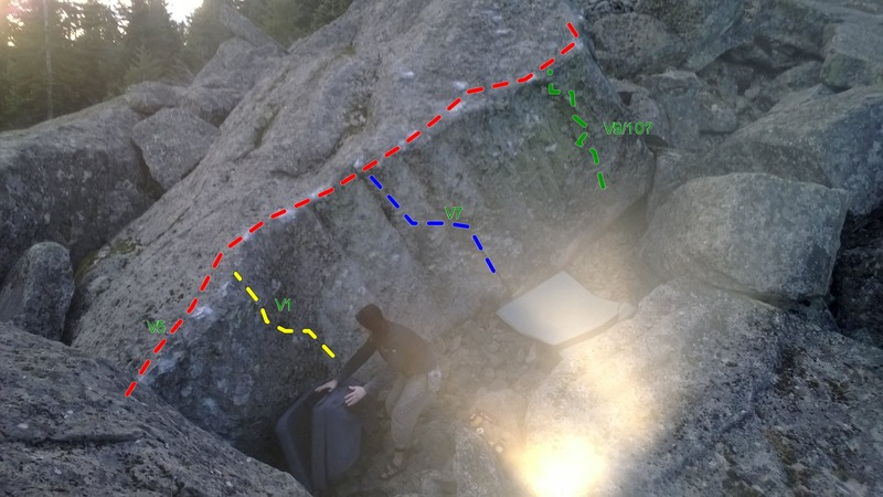 V5 Traverse. Start is on the left side, at the bottom left corner, tops out at the top right point.