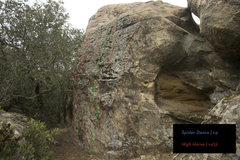 Rock Climbing Photo: The center green has yet to go, but spider dance i...